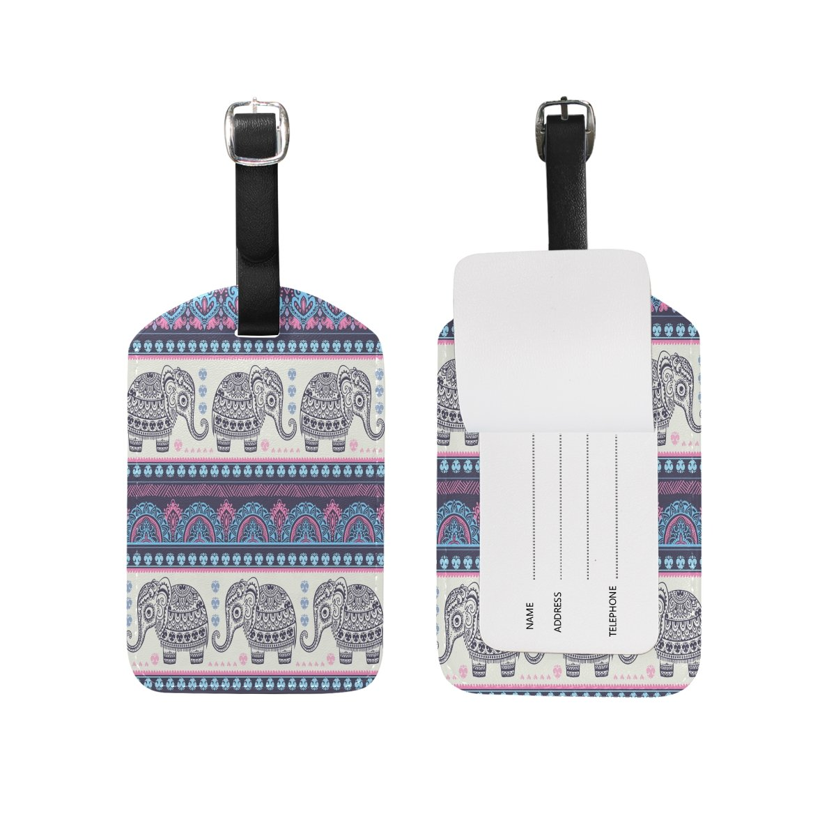 1Pcs Saobao Travel Luggage Tag Vintage Indian Elephant With Tribal Ornaments PU Leather Baggage Suitcase Travel ID Bag Tag