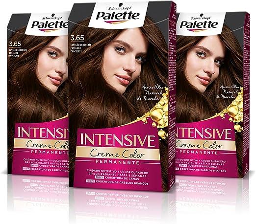 Schwarzkopf Palette Intensive Creme Color - Tono 3.65 cabello Castaño Chocolate (Pack de 3)Coloración Permanente de Cuidado con Aceite de Marula, ...