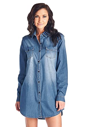 Blue Age Womens Chambray Denim Shirt Blouse Denim Dress at Amazon ...