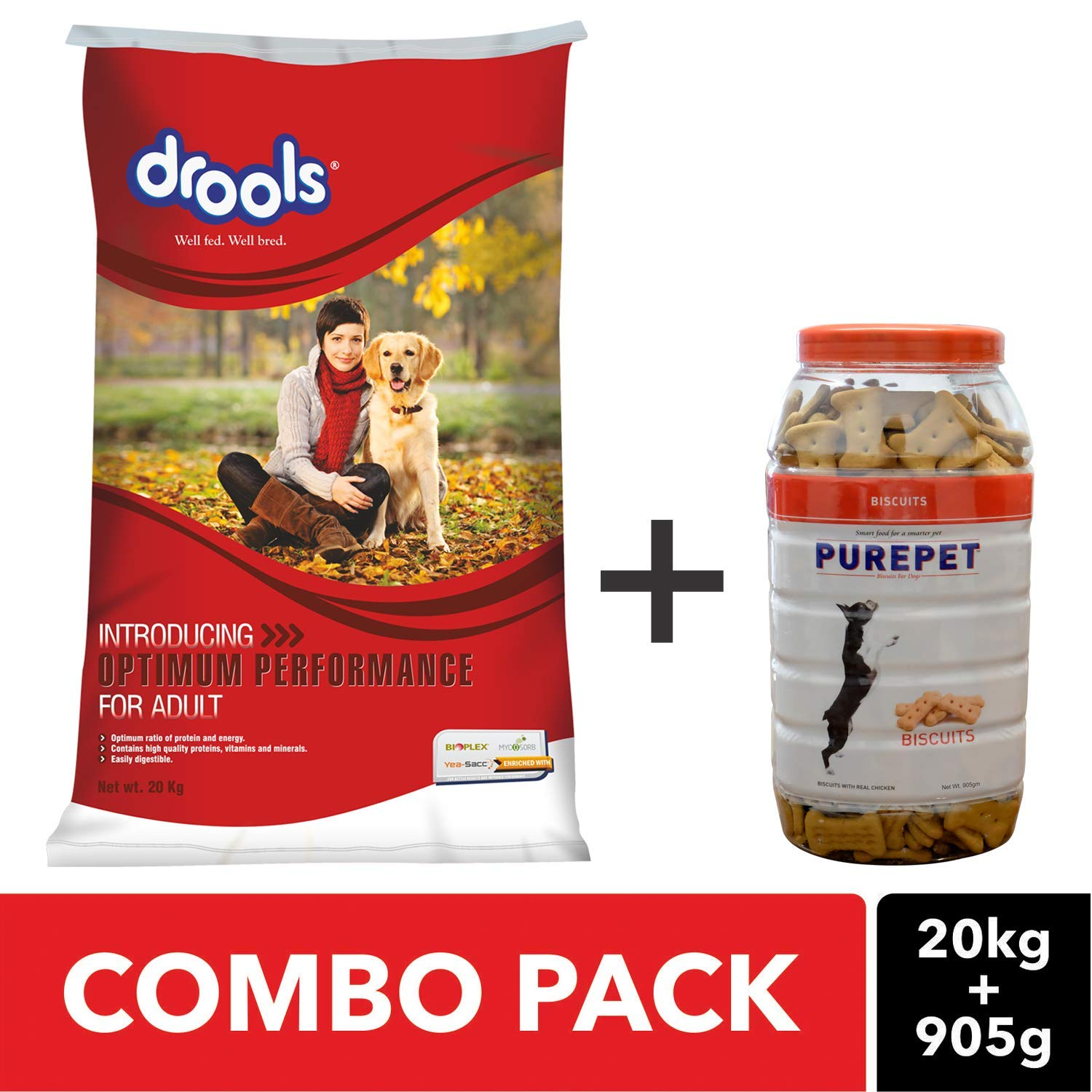 Combo Pack Drools Optimum Performance Adult Dog Food 20kg And Purepet Real Chicken Dog Treats 905 Gm Amazon In Pet Supplies