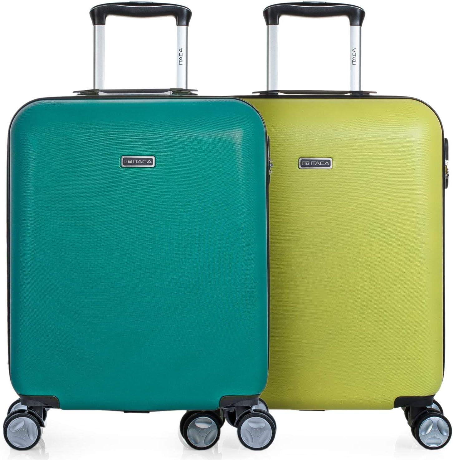 ITACA - Pack 2 Maletas de Viaje Rígidas 4 Ruedas 55x40x20 cm Cabina Trolley ABS. Equipaje de Mano. Resistentes y Ligeras. Mango Asa Candado. Low Cost Ryanair. T58050P, Color Esmeralda-Gris/Amarillo-Gr