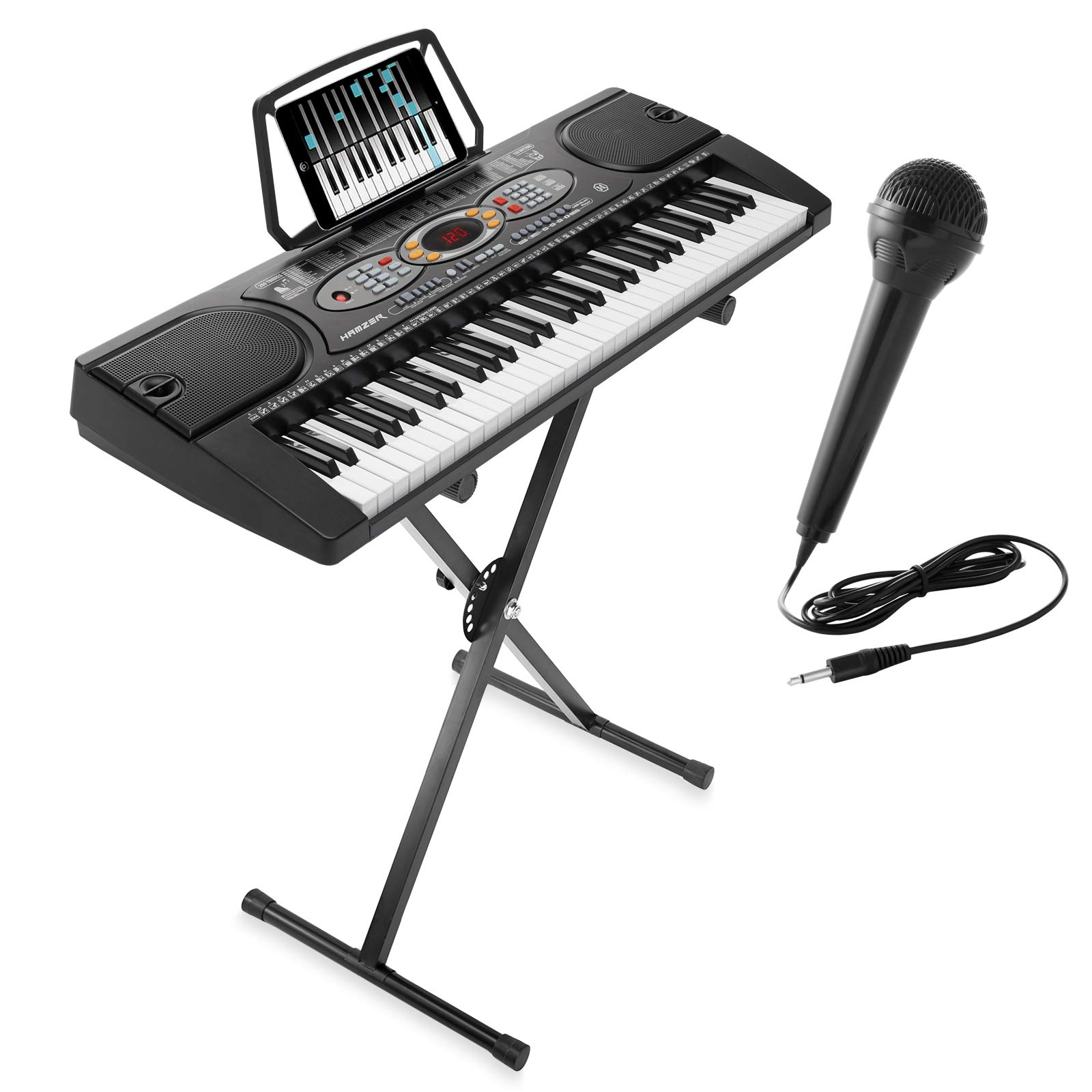 Hamzer 61-Key Electronic Keyboard Portable Digital Music Piano with X Stand, Microphone & Sticker Set by Hamzer