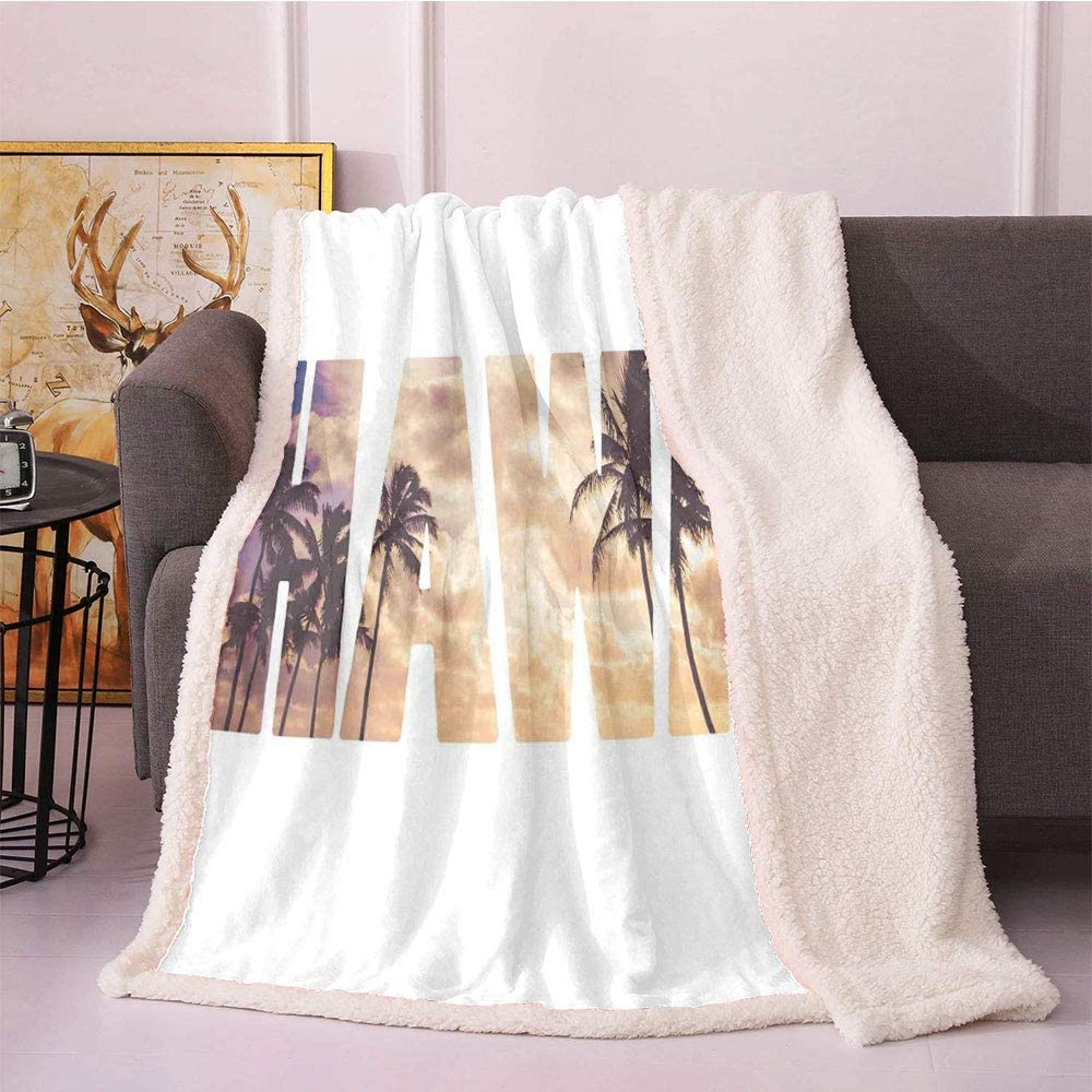 Hawaiian Fleece Blanket,Tropic Silhouette Palm Trees at Sunset Cloudy Sky Hawaii Typography Skyscape Flannel Bed Blankets,for Bed/Couch/Chair Blankets(50in x 60in,Brown Beige)