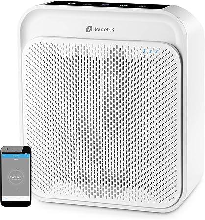 Purificador de Aire Inteligente, Houzetek Purificador de Aire Silencioso con Filtro Hepa de 4 Capas Soporte Alexa, Ionizador Limpizador de Aire y Control de Voz Purificar 99% Polvo y Bacterias: Amazon.es: Hogar