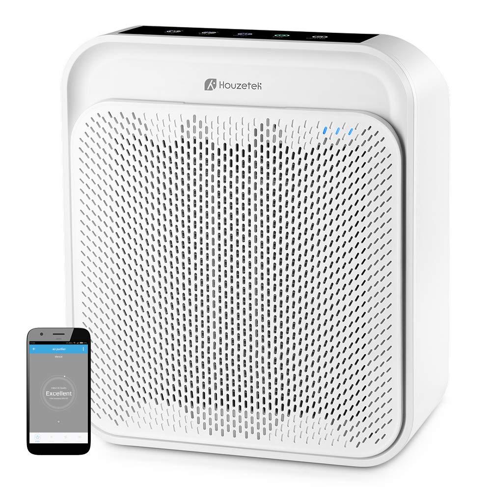 Houzetek Purificador de Aire Inteligente, Purificador de Aire Silencioso con Filtro Hepa de 4 Capas Soporte Alexa, Ionizador Limpizador de Aire y Control de Voz Purificar 99% Polvo y Bacterias