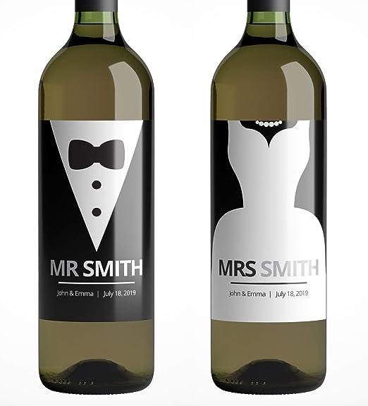Intención malo Maravilla  Etiquetas de vino para botellas – Mr & Mrs etiquetas de botella de boda  personalizadas ideal para regalos, regalos, aniversario, juego de 2  pegatinas: Amazon.es: Hogar