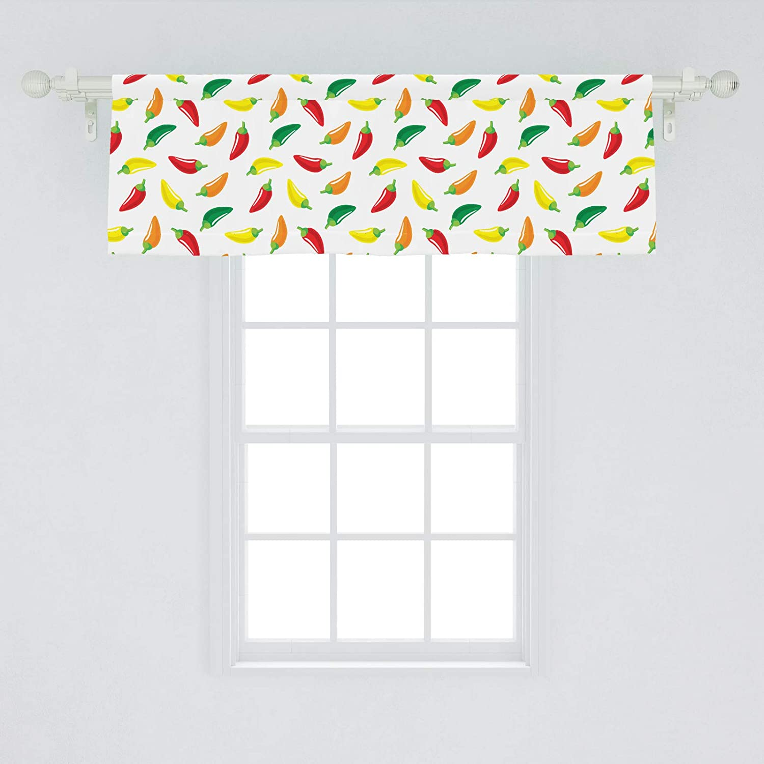 Ambesonne Peppers Window Valance Chili Pepper Pattern With Colorful Digital Vegetable Art Design Composition Vegan Curtain Valance For Kitchen Bedroom Decor With Rod Pocket 54 X 18 Multicolor Amazon Ca Home Kitchen