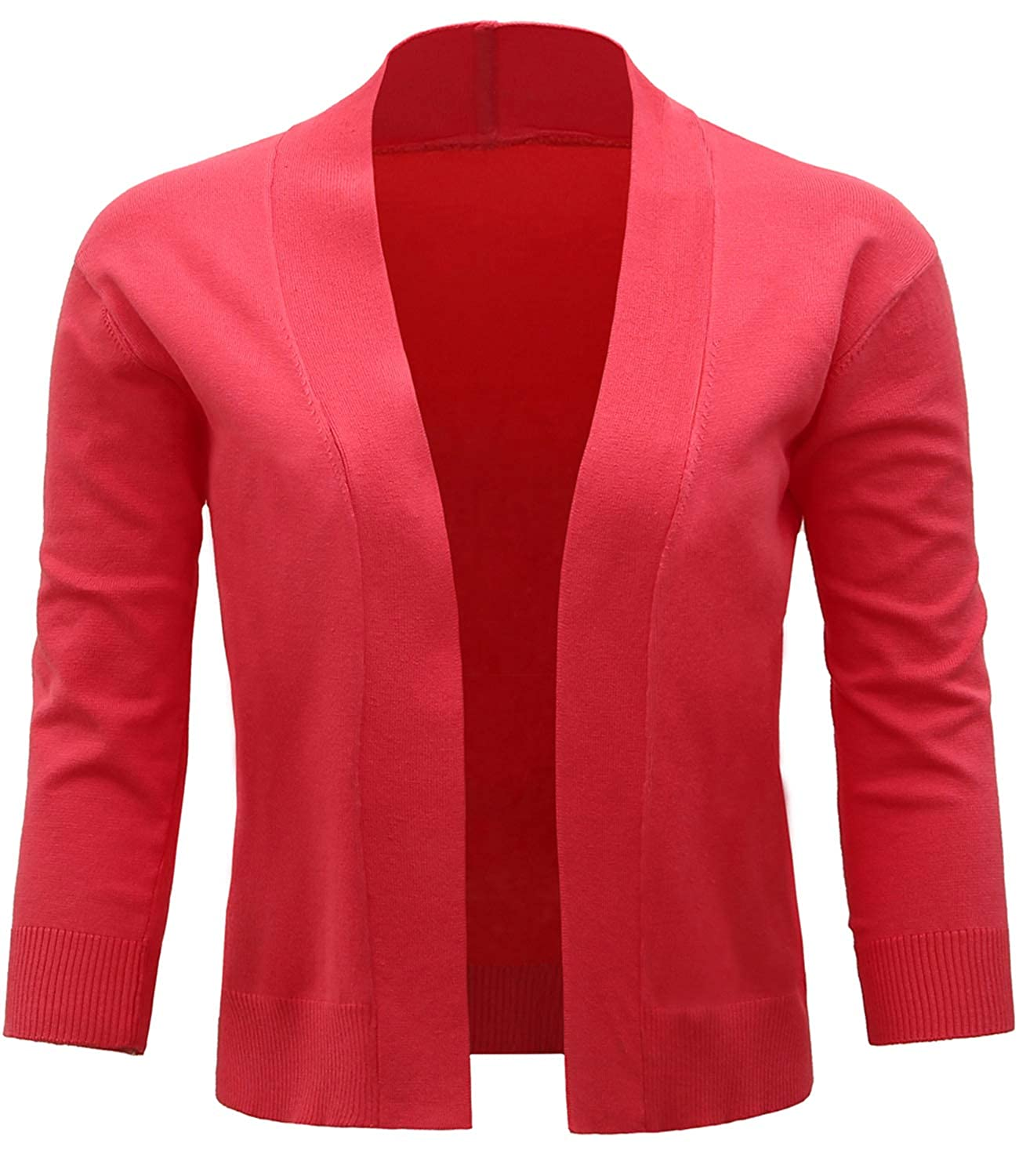 Red JOKHOO Women Classic 3 4 Sleeve Open Front Crop Cardigan