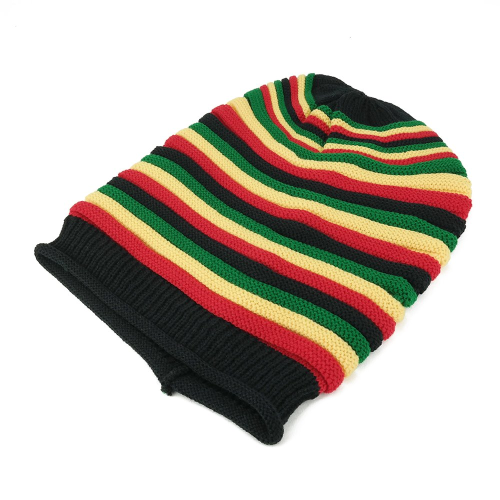 8c44e1aad Armycrew Ribbed Trim Rasta Striped Printed Extra Baggy Slouchy Long Beanie  Hat