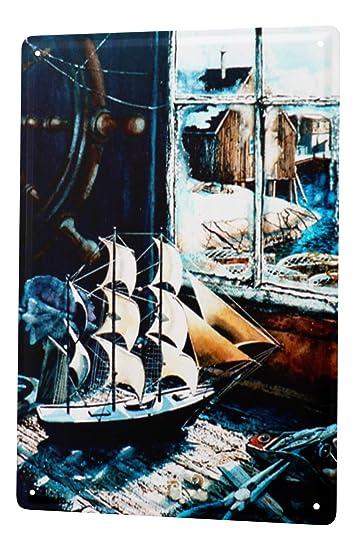 L H Koehler Blechschild Nostalgie Schild Modell Segelschiff Wand Deko 20X30 cm