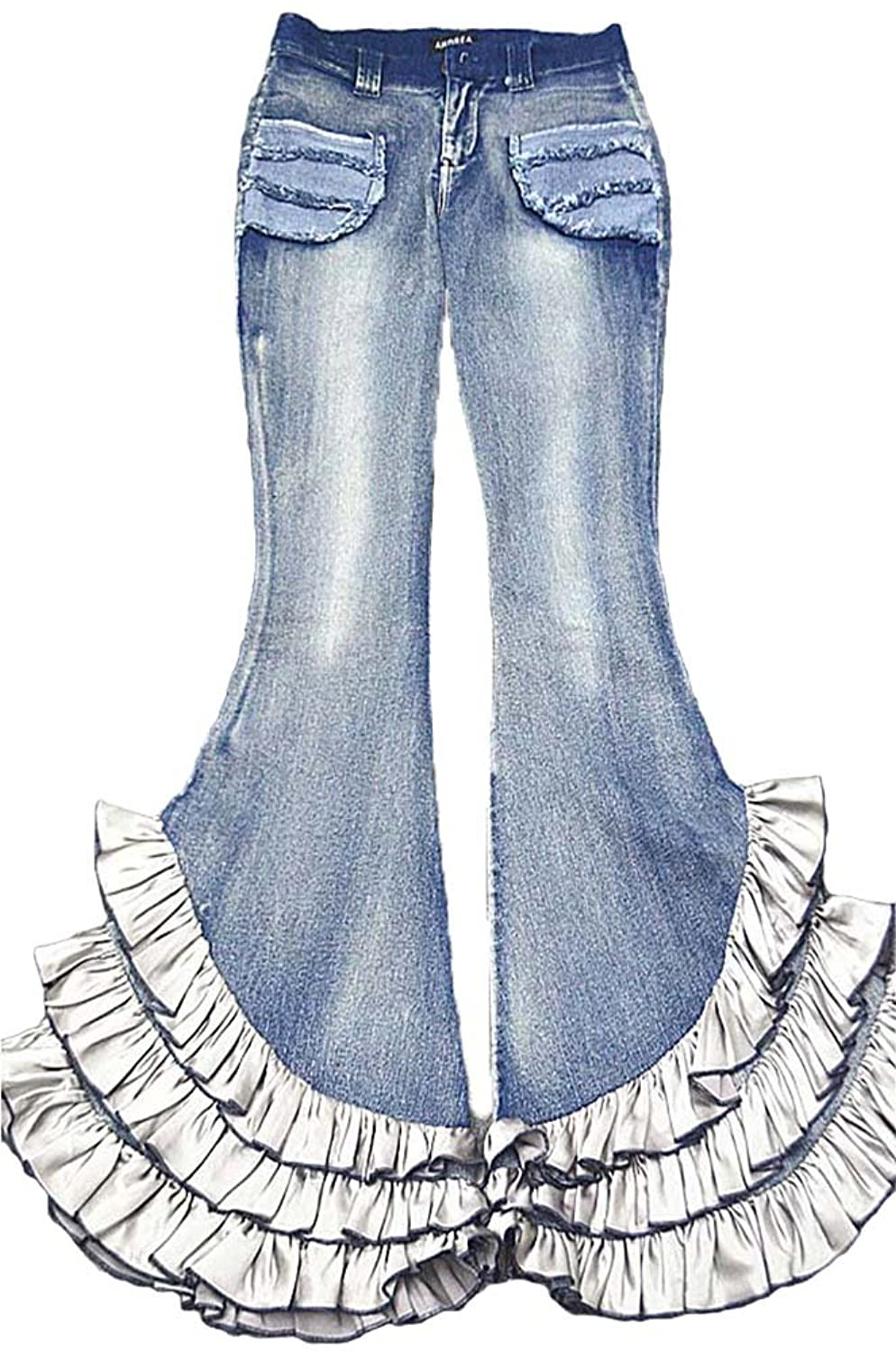 AvaCostume Womens Fading Bell Buttom Flare Ruffle Legs Denim Jeans