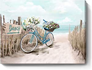 Beach Canvas Wall Art for Bathroom Ocean Pictures Seaside Bicycle Canvas Print Seascape Painting Framed Teal Aqua Blue Calming Shoreside Artwork for Modern Coastal Themed Lake Home Bedroom Décor Ready to Hang 12x16inch
