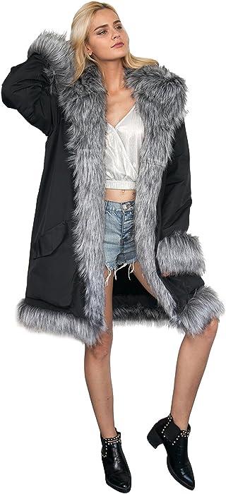 VLUNT Mujer Abrigo de Piel Chaqueta Fur Coat Winter Caliente de Piel Sintética de Fox Chaqueta