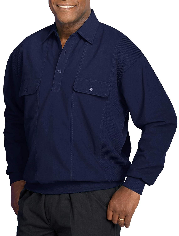 Harbor Bay by DXL Big and Tall Long-Sleeve Mesh Panel Banded-Bottom Shirt