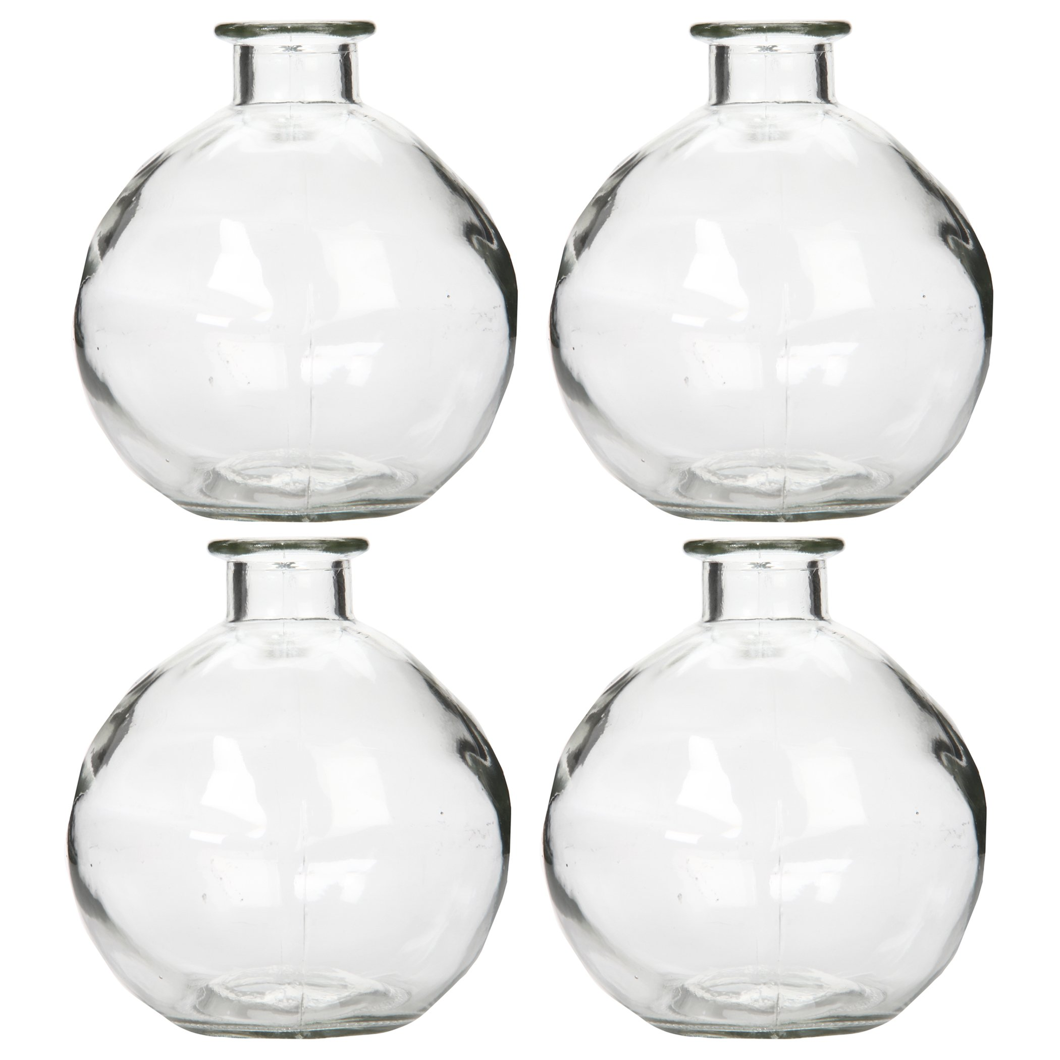 Hosley Set of 4 Glass Bottles - 250ml - Ideal Gift for Wedding or Flower Vase, Bud vase DIY Crafts, Diffuser Refill, Aromatherapy Oils Storage O4