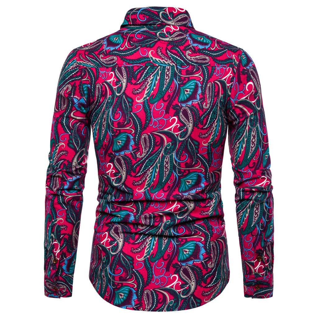 Mens Long Sleeve Dress Shirt Summer Business Leisure Printing Casual Shirt Top Blouse by Cianjue