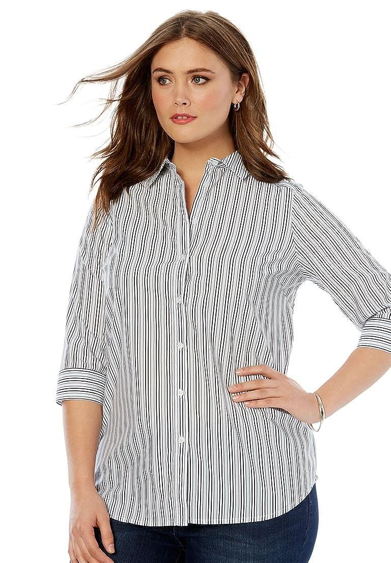 d486d7430b Roamans Women s Plus Size Three-Quarter Sleeve Kate Shirt ...