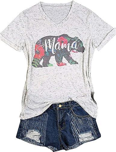 Mama Bear Floral Printed Women V-Neck Short SleeveT Shirts Funny Mom Gift Slim mom Shirt
