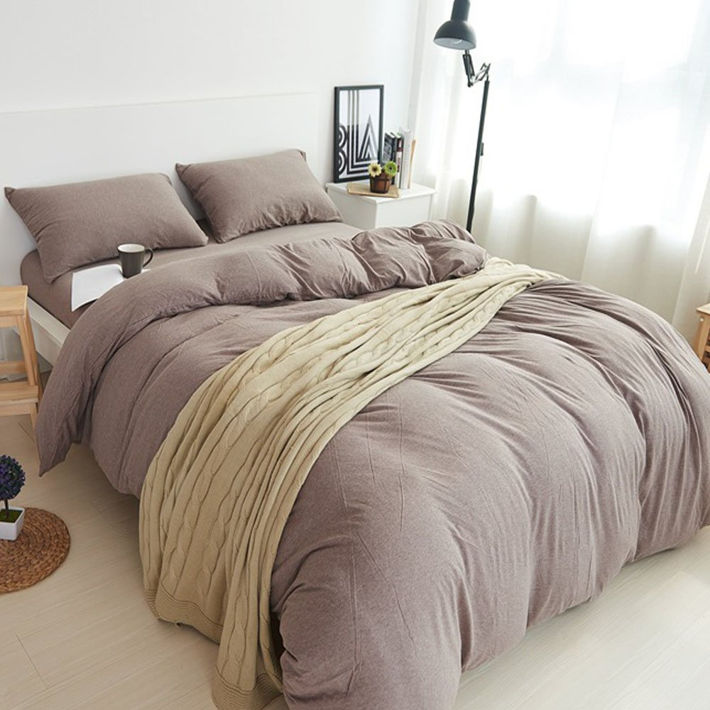 PURE ERA Ultra Soft Solid Cotton Jersey Knit Home Bedding Collection 3 Pieces Duvet Cover Set,1 Comforter Cover and 2 Pillow Shams Rosy Brown Queen Size by PURE ERA