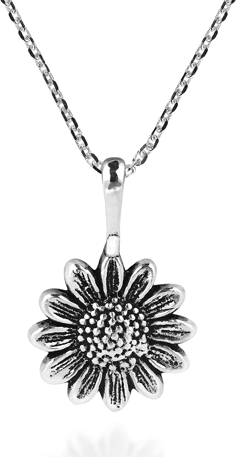 AeraVida Enchanting Sunflower .925 Sterling Silver Pendant Necklace