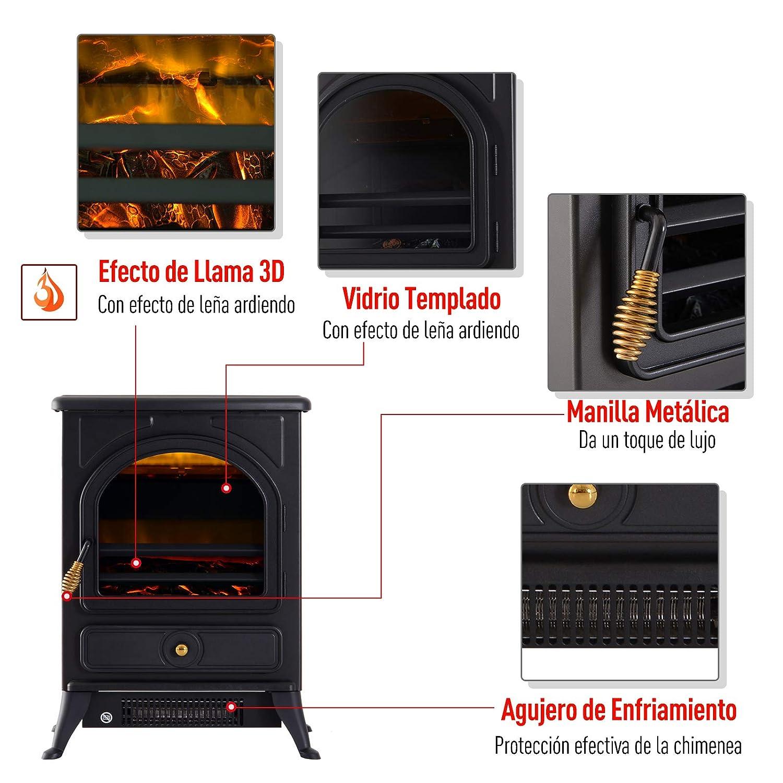 HOMCOM Chimenea Eléctrica Móvil Calefactor Estufa Eléctrica con Termostato 900W/1800W Efecto Fuego LED Temperatura Ajustable 41.5x28x54cm Acero: Amazon.es: ...