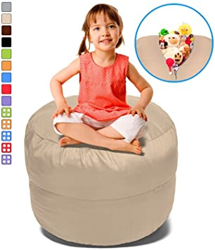 Stuffed Animal Bean Bag Storage Chair In Beige   38u0026quot; Large Fill U0026  Chill Space