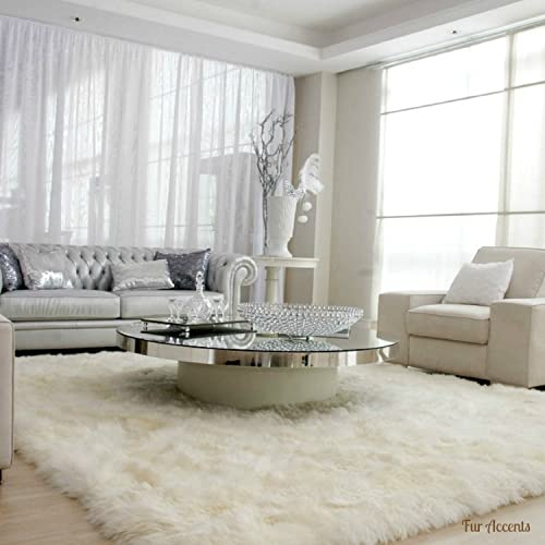 Plush Faux Fur Shaggy Shag – Soft Sheepskin Pelt Rug – Rectangle with Natural Edges RealisticWhite or Off White – Shag – Soft Ultra Suede Backing – Area Rug 5 x8 , Off White