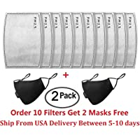 10 Pcs PM2.5 Activated Carbon Filter for Breathing Insert Protective mask Anti Pollution Washable Cotton for adult Outdoor Activities