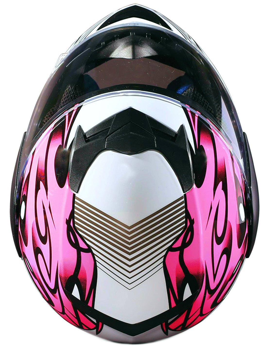 Youth Kids Full Face Helmet with Shield Motorcycle Street MX Dirtbike ATV - Pink (XL) by Typhoon Helmets (Image #6)