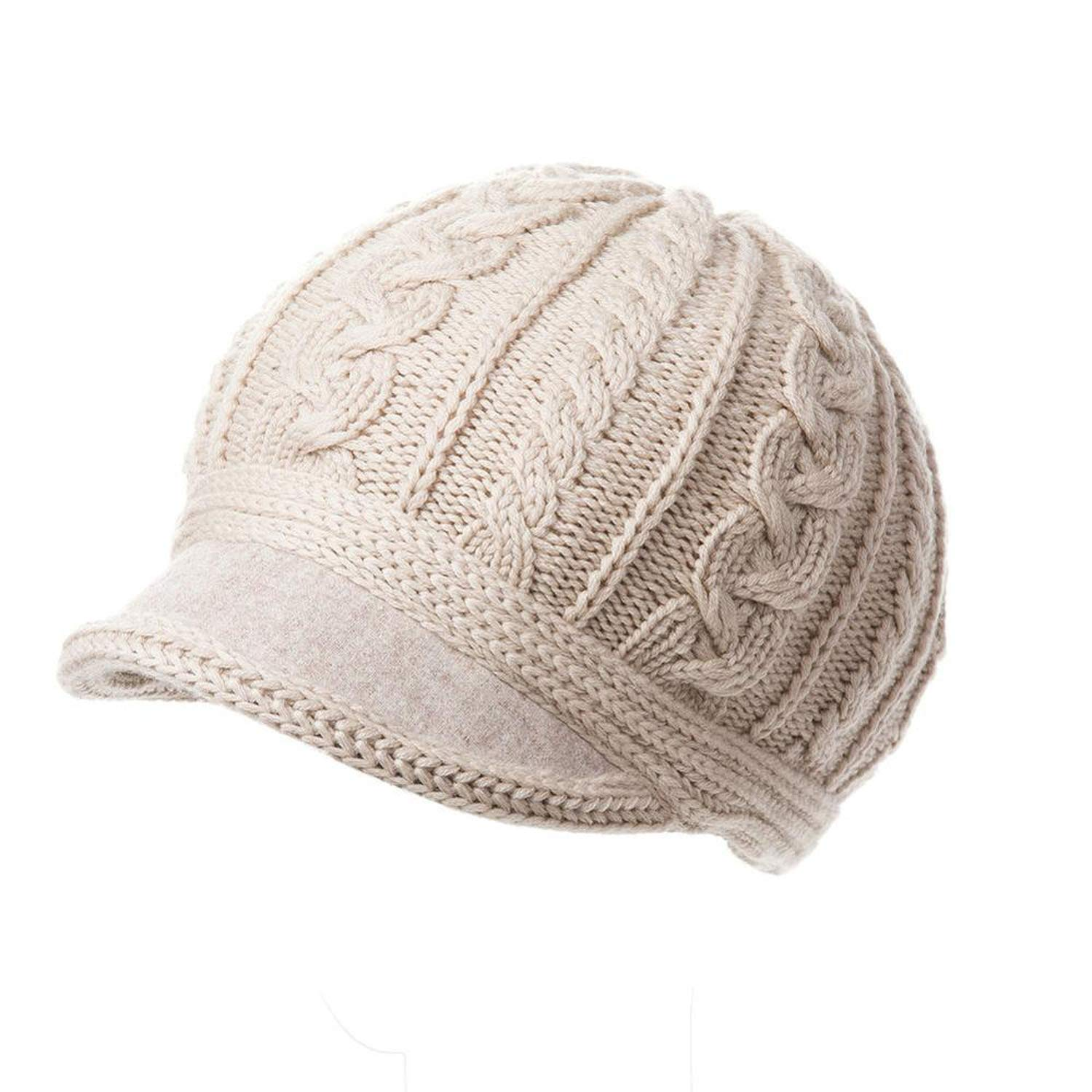 UKURO Women 100% Wool Knitted Newsboy Hats Visor Solid Autumn Winter Beret Cap Warm Gorras Planas, Beige at Amazon Womens Clothing store: