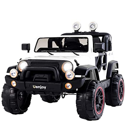 15fc65a32059 Amazon.com: Uenjoy Ride On Cars 12V Children's Electric Cars Motorized Cars  for Kids, Remote Control, 3 Speeds, Head Lights, Dual Motors, White: Toys &  ...