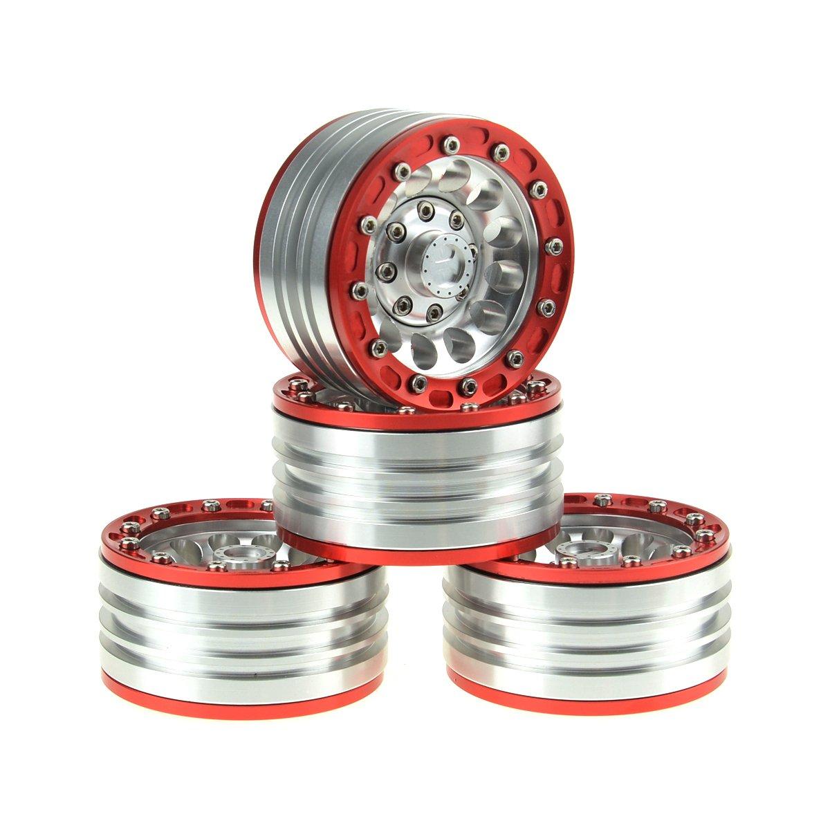 HobbyMarking 4Pcs Aluminium 1/10 RC Crawler 1.9'' Beadlock Wheel Rims for 1:10 Axial SCX10 TAMIYA RC4WD D90 RC Car
