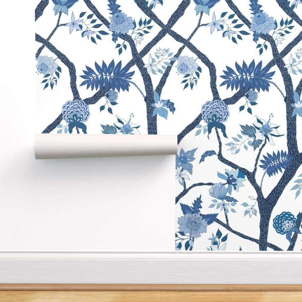 Spoonflower Peel And Stick Removable Wallpaper Chinoiserie Blue