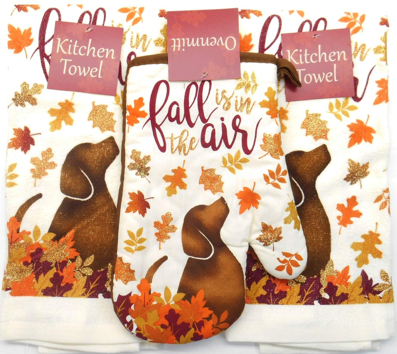 Fall Autumn Kitchen Towel Set is in the Air with Dog and Glitter. 3 Piece Bundle Set includes 2 Towels and 1 Ovenmit