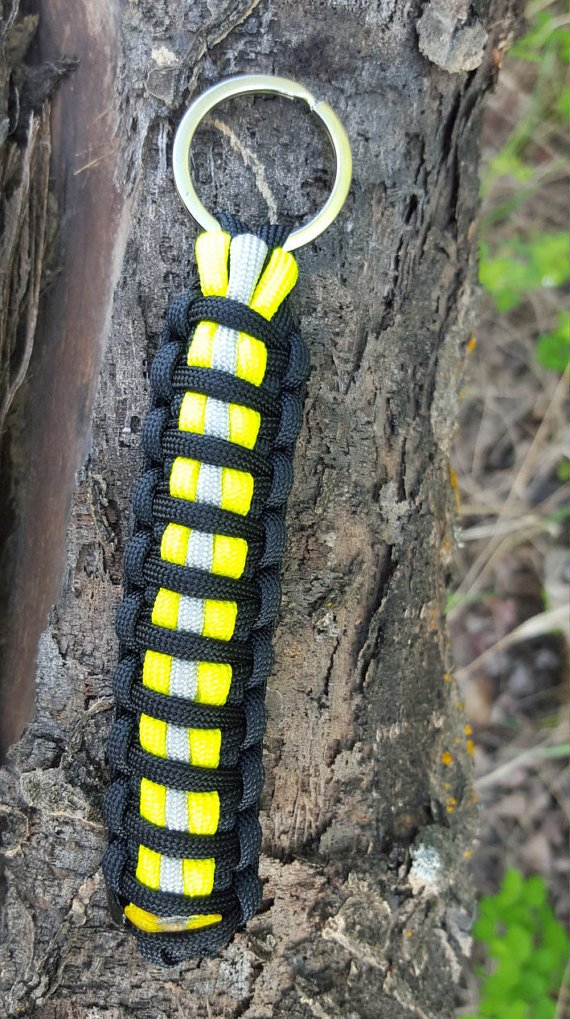 Firefighter Bunker Gear Paracord Key Chains - Yellow/Black
