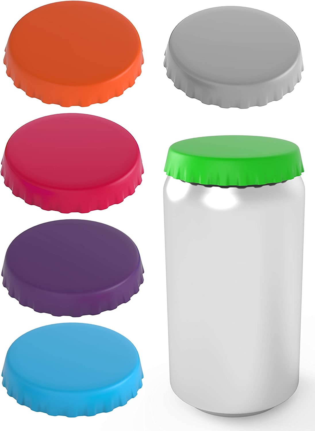 Silicone Soda Can Lids – Can Covers – Can Caps – Can Topper – Can Saver – Can Stopper – Shield your coke, beer, and pop cans from flies, bees, and dust! – Fits standard soda cans (Assorted - 6 Pack)