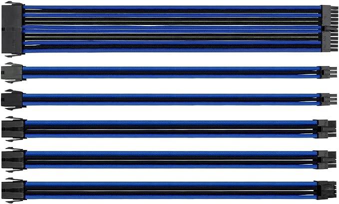 Thermaltake TtMod Sleeve - Cable (Macho/Hembra, ATX (24-Pin), ATX (24-Pin), Derecho, Derecho), Color Azul: Amazon.es: Informática