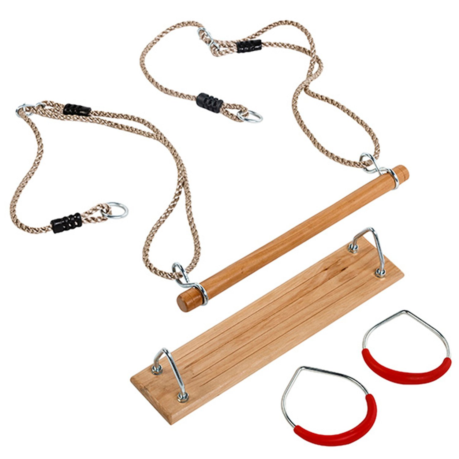 Garden Games Triple Swing Pack Hardwood Swing Seat Trapeze Bar and Gym Rings with Ropes Garden Games Limited
