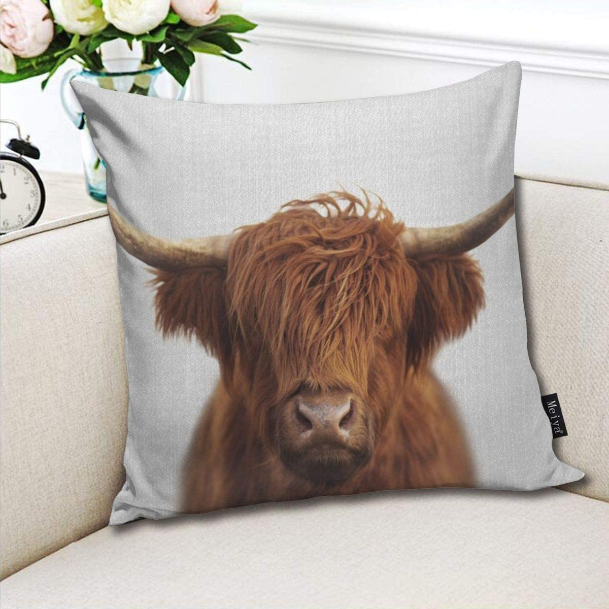 Cow print decorative throw pillow cover