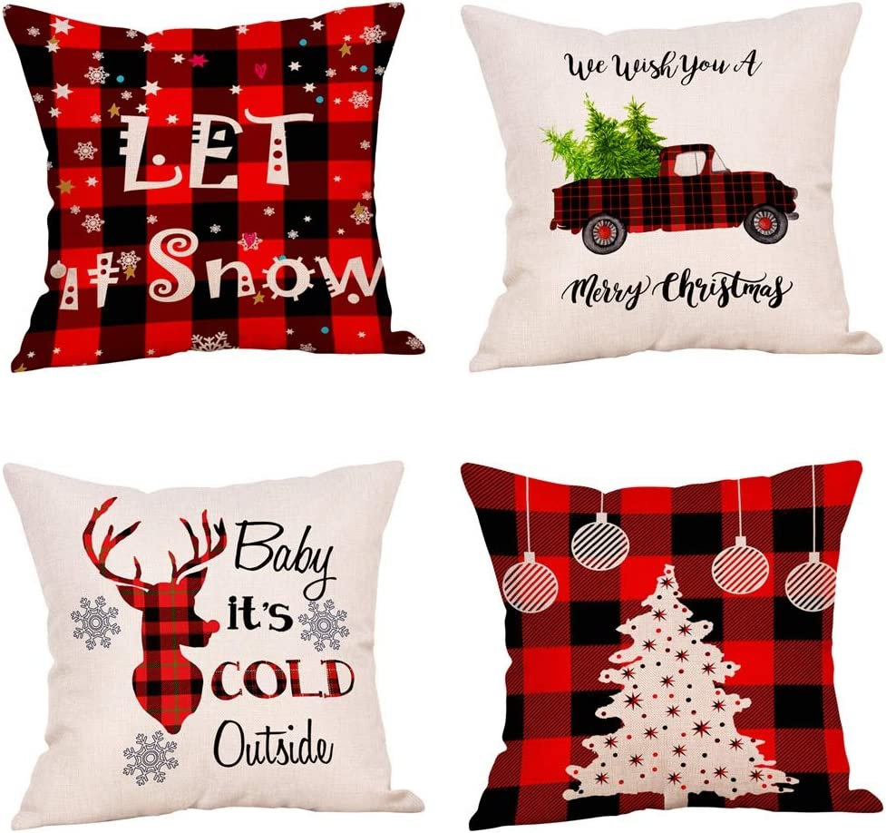 4 Pack Farmhouse Christmas Throw Pillow Covers,Red and Black Buffalo Check Plaids Throw Pillows 18x18 Inch Red Truck Christmas Tree Deer Snowflake Christmas Decorations Linen Cushion Case (18x18)