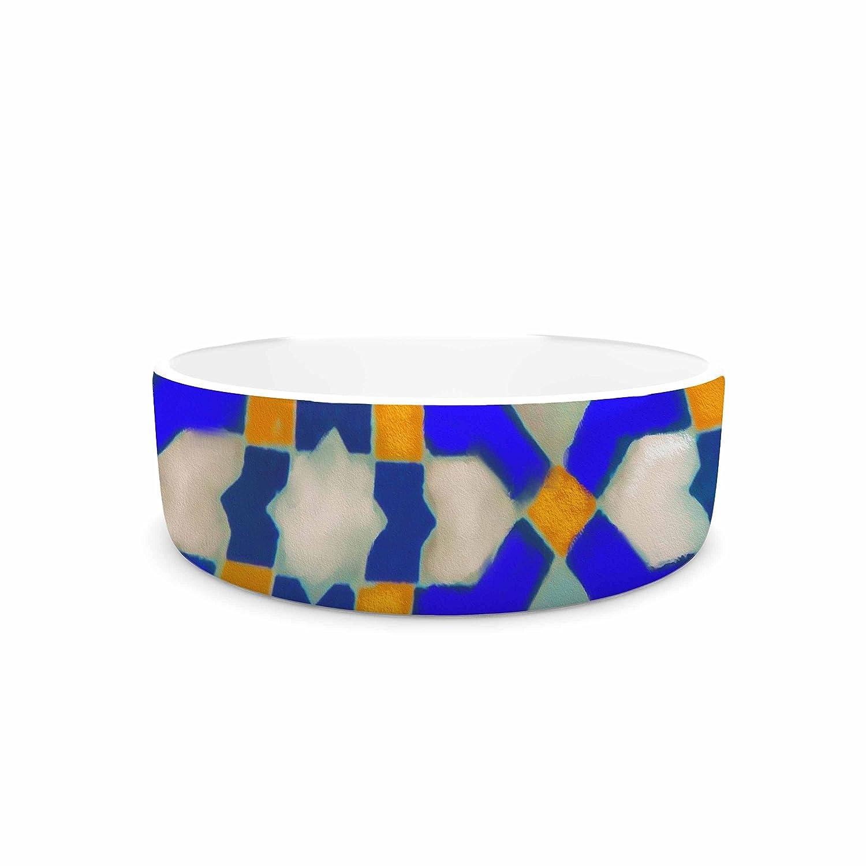 KESS InHouse S Seema Z MORROCON blueES  bluee Pattern Pet Bowl, 7