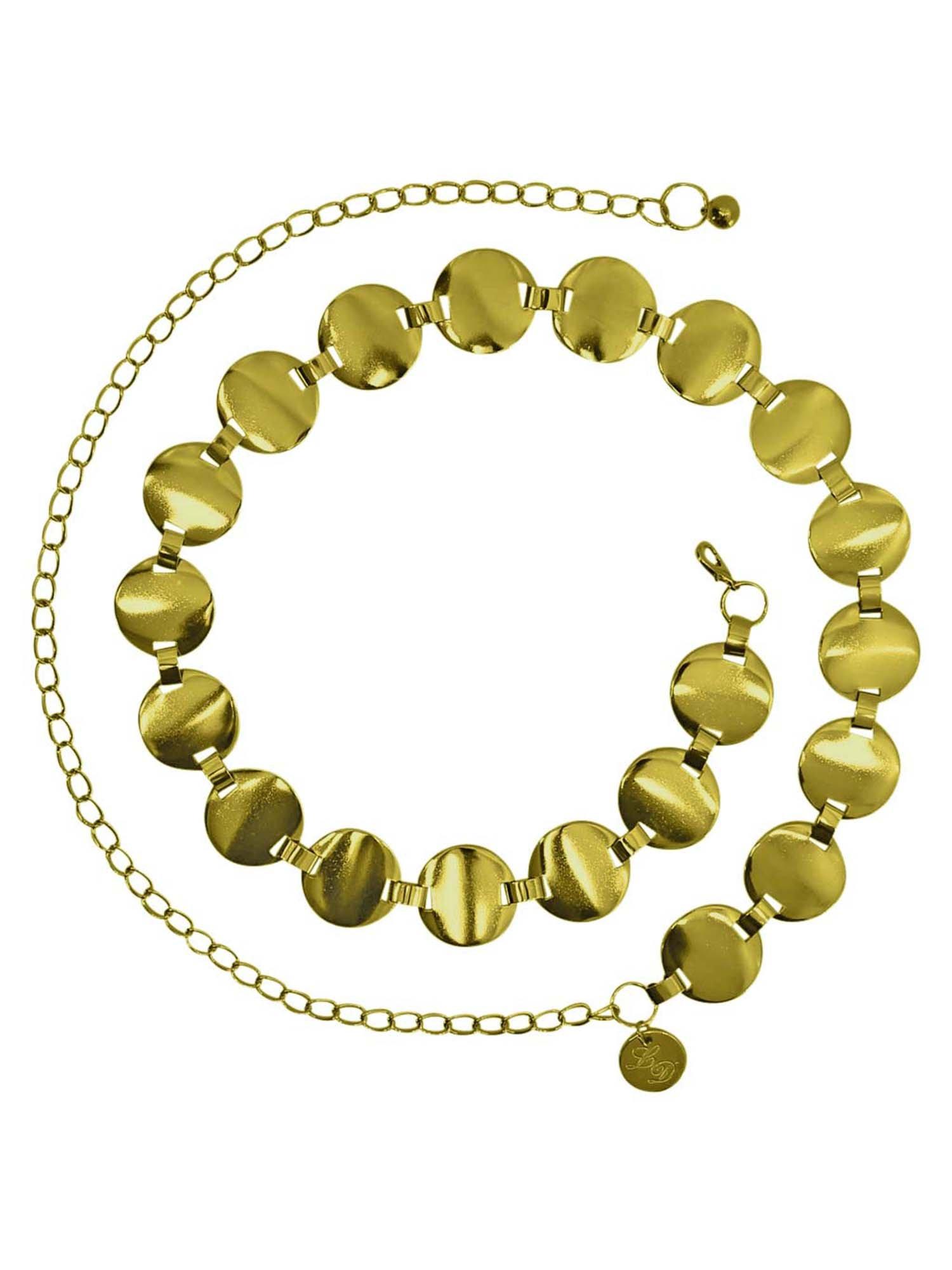 Gold Smooth Round Disc Chain Link Belt