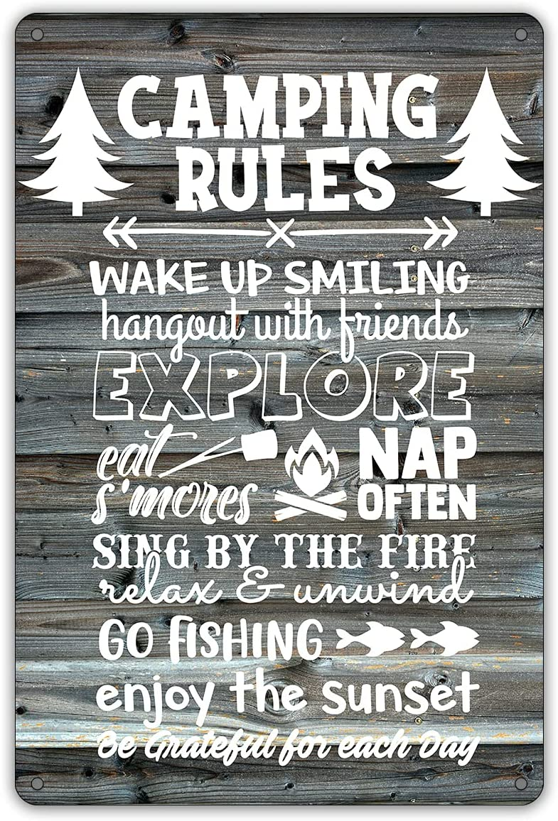 QIONGQI Funny Camping Rules Metal Tin Sign Wall Decor Farmhouse Rustic Camping Signs with Sayings for Home Garage Men Cave Yard Decor Camper Gifts (Wooden Style)