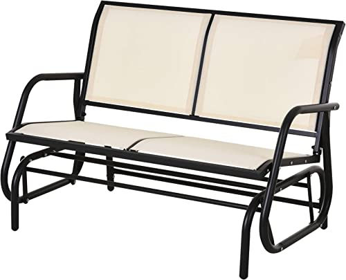 Outsunny Outdoor Double Rocking Chair with a Comfortable Sling Fabric Backing, Steel Frame, Curved Rocking Arms, Beige