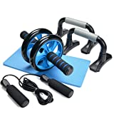 3-In-1 AB Wheel Roller Kit - Odoland AB Roller Pro with Push-Up Bar, Jump Rope and Knee Pad - Perfect Abdominal Core Carver Fitness Workout for Abs - with Workout Guide