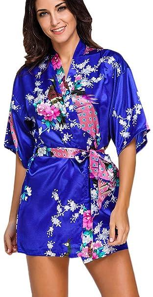 FLYCHEN Mujer Corto de Kimono Estampado Floral lencer¨ªa Pijama Armada Small