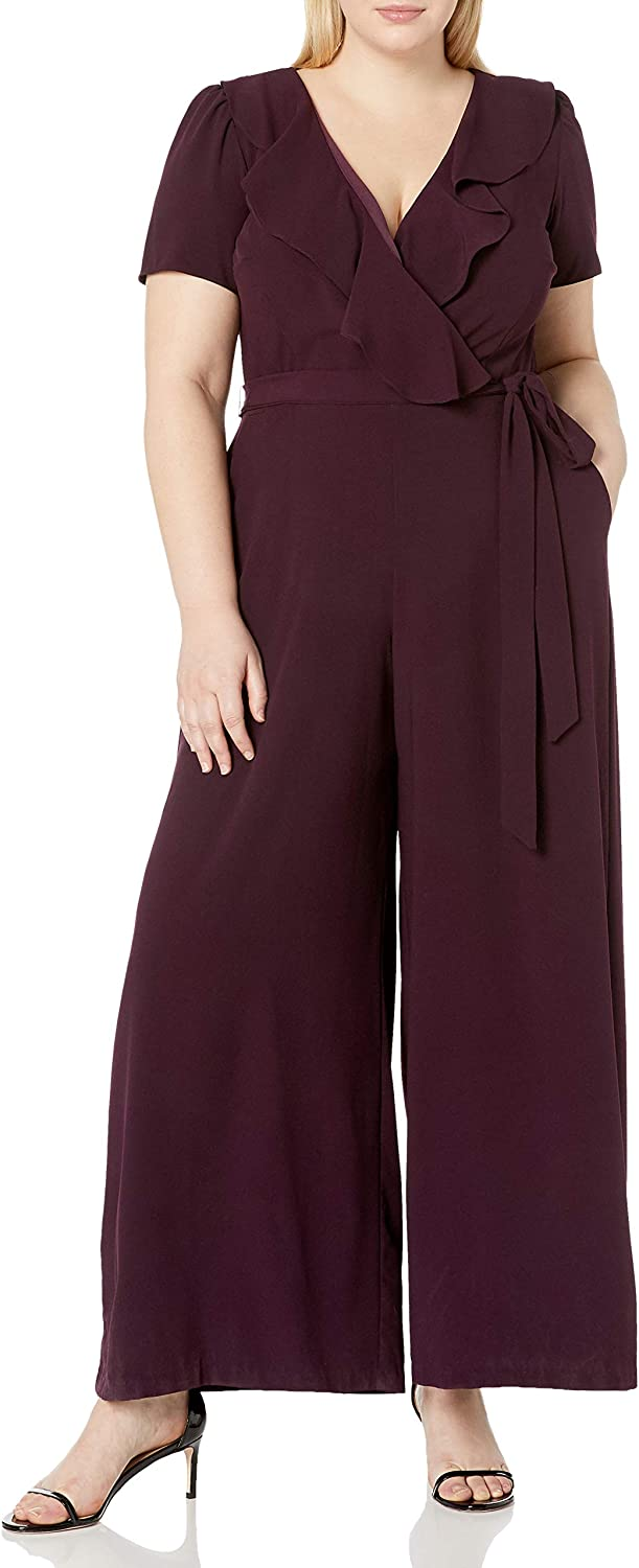 Calvin Klein Women's Plus Size Sleeveless Belted Jumpsuit with Ruffle Armhole