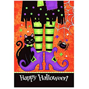Morigins Trick Or Treat Witch Feet 12.5 x 18 Black Kitty Spider Decorative Happy Halloween Double Sided Garden Flag
