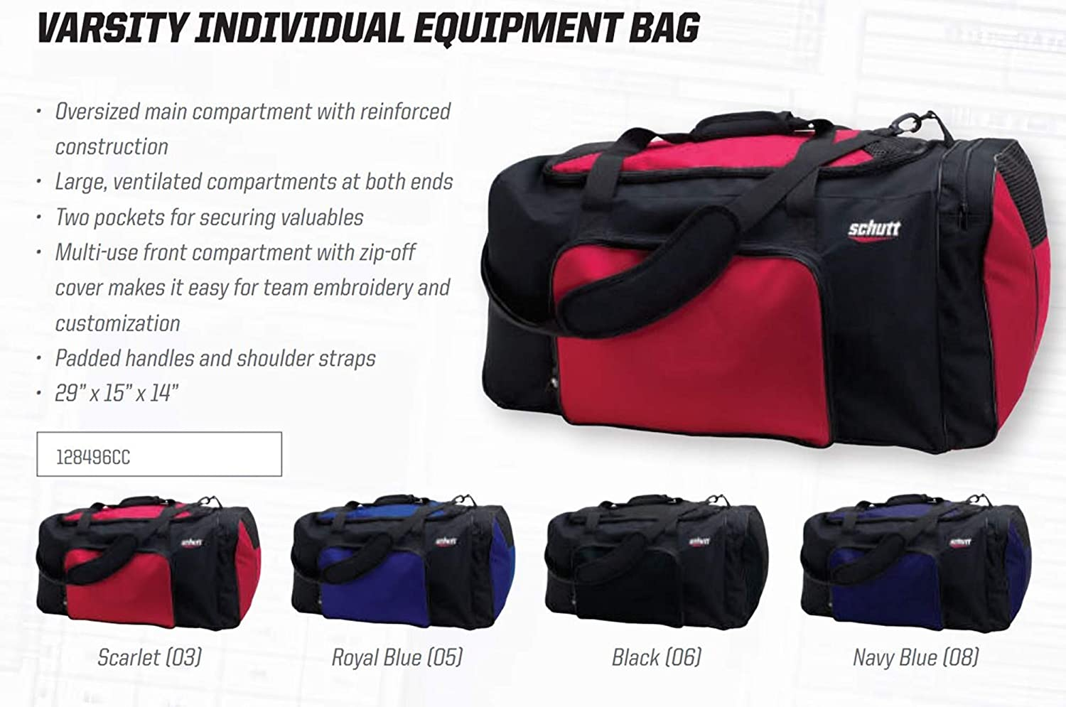 Schutt Sports 12849603 Individual Equipment Bag Varsity Individual Equipment Bag
