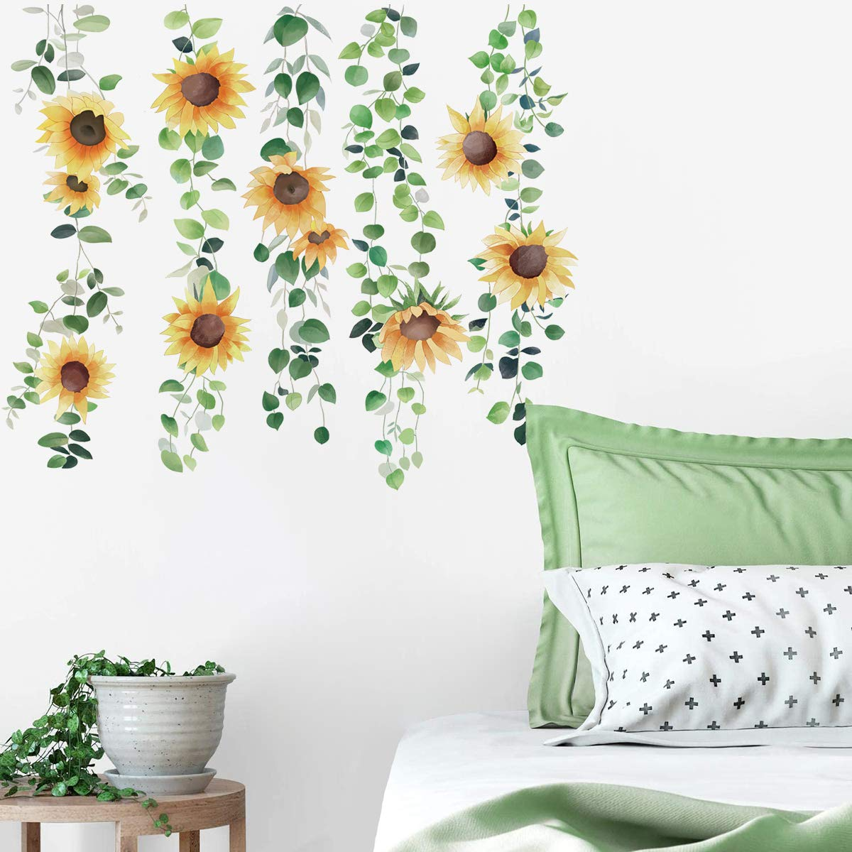 Decalplanet Sunflower Wall Decals Floral Hanging Vine Green Plants Wall Art Stickers for Girls Bedroom Living Room Home Decor